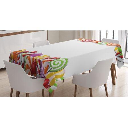 Celebration Snack (Candy Cane Tablecloth, Festive and Fun Framework with Colorful Cartoon Sweet Snacks Holiday Celebration, Rectangular Table Cover for Dining Room Kitchen, 60 X 84 Inches, Multicolor, by)