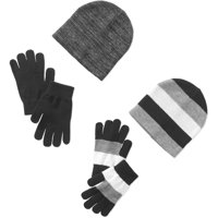 Womens Touch Glove and Beanie 4-Piece Set (Gray and Black)