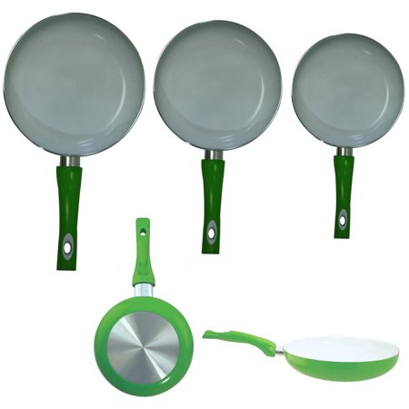 3 Non Stick Ceramic Coated Fry Pan Set Eco Green Healthy Cookware 8