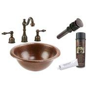 "Premier Copper Products Bsp2_Lr12rdb 12"" Copper Drop In Bathroom Sink - Bronze"
