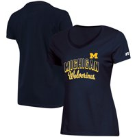 Women's Russell Athletic Navy Michigan Wolverines Arch V-Neck T-Shirt