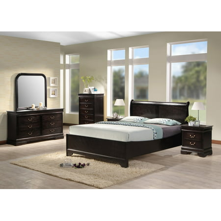 Best quality furniture 4pc bedroom set multiple sizes cappuccino color b81 for Best quality bedroom furniture