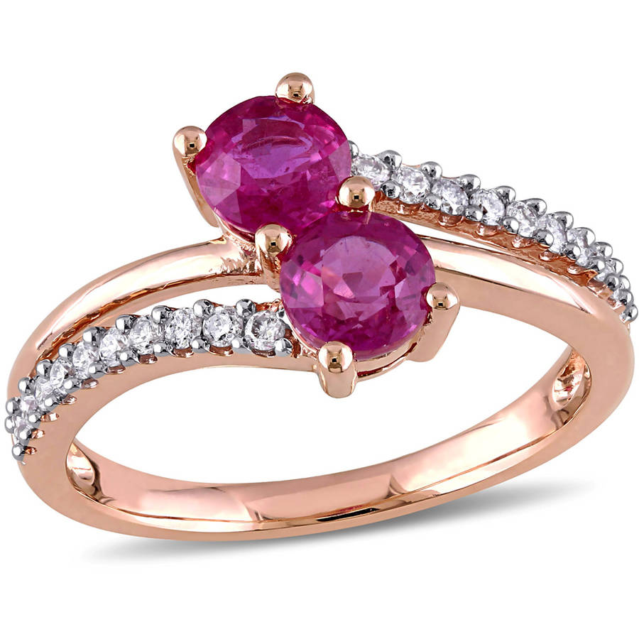 Tangelo 4 5 Carat T.G.W. Pink Sapphire and 1 5 Carat T.W. Diamond 10kt Rose Gold Double-Row Two-Stone Ring by Tangelo