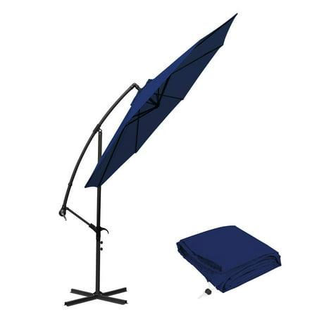 10 ft Offset Cantilever Patio Umbrella Outdoor Market Hanging Umbrellas & Crank with Cross Base, 8 Ribs (10 Ft, Navy (11 Ft Cantilever Patio Umbrella With Base)