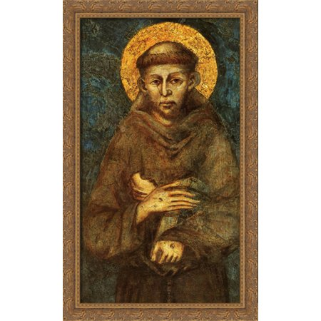 Saint Francis of Assisi (detail) 24x40 Large Gold Ornate Wood Framed Canvas Art by Cimabue