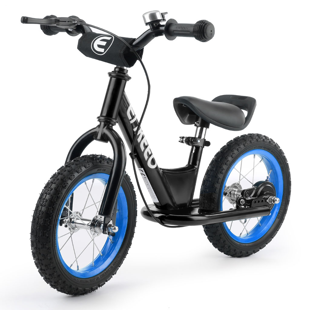ENKEEO 12'' Sport Balance Bike No Pedal Control Walking Bicycle Transitional Cycling Training,Black