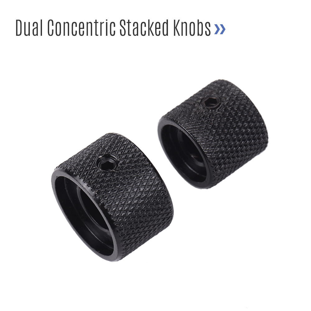 2 Sets Dual Concentric Stacked Control Knobs for Electric Bass Guitars Black Color