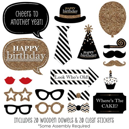 Adult Happy Birthday - Gold - Photo Booth Props Kit - 20 Count
