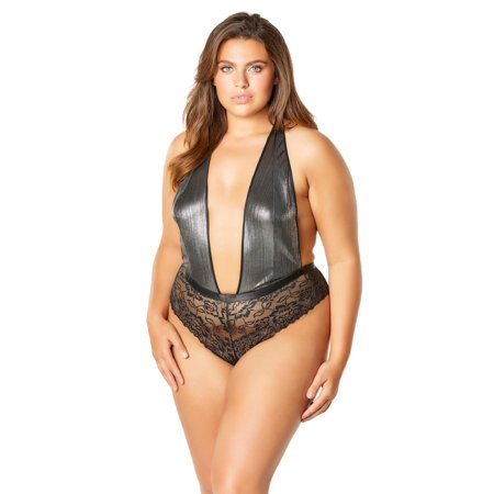 4234ed44a Womens Plus Size Sexy Plunge Neck Metallic and Lace Bodysuit Teddy Lingerie