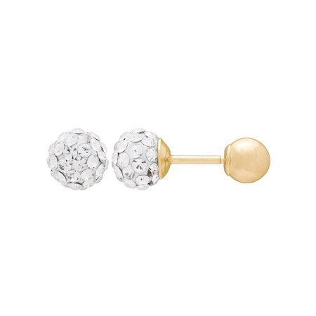 Kids' 10K Yellow Gold 4.8mm White Crystal Ball/4mm Ball Stud Earrings](Kid Earrings)
