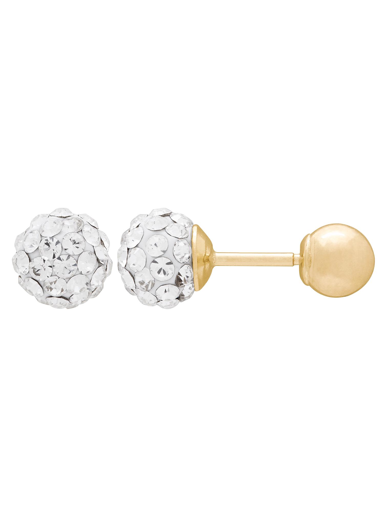 Kids' 10K Yellow Gold 4.8mm White Crystal Ball/4mm Ball Stud Earrings