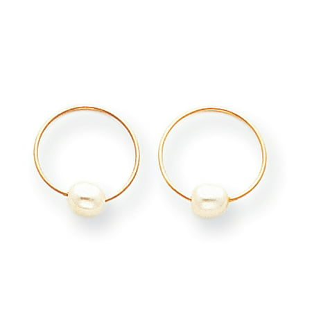 14k Endless Hoop with FW Cultured Pearl Earrings (Fw Pearl Cluster Earrings)