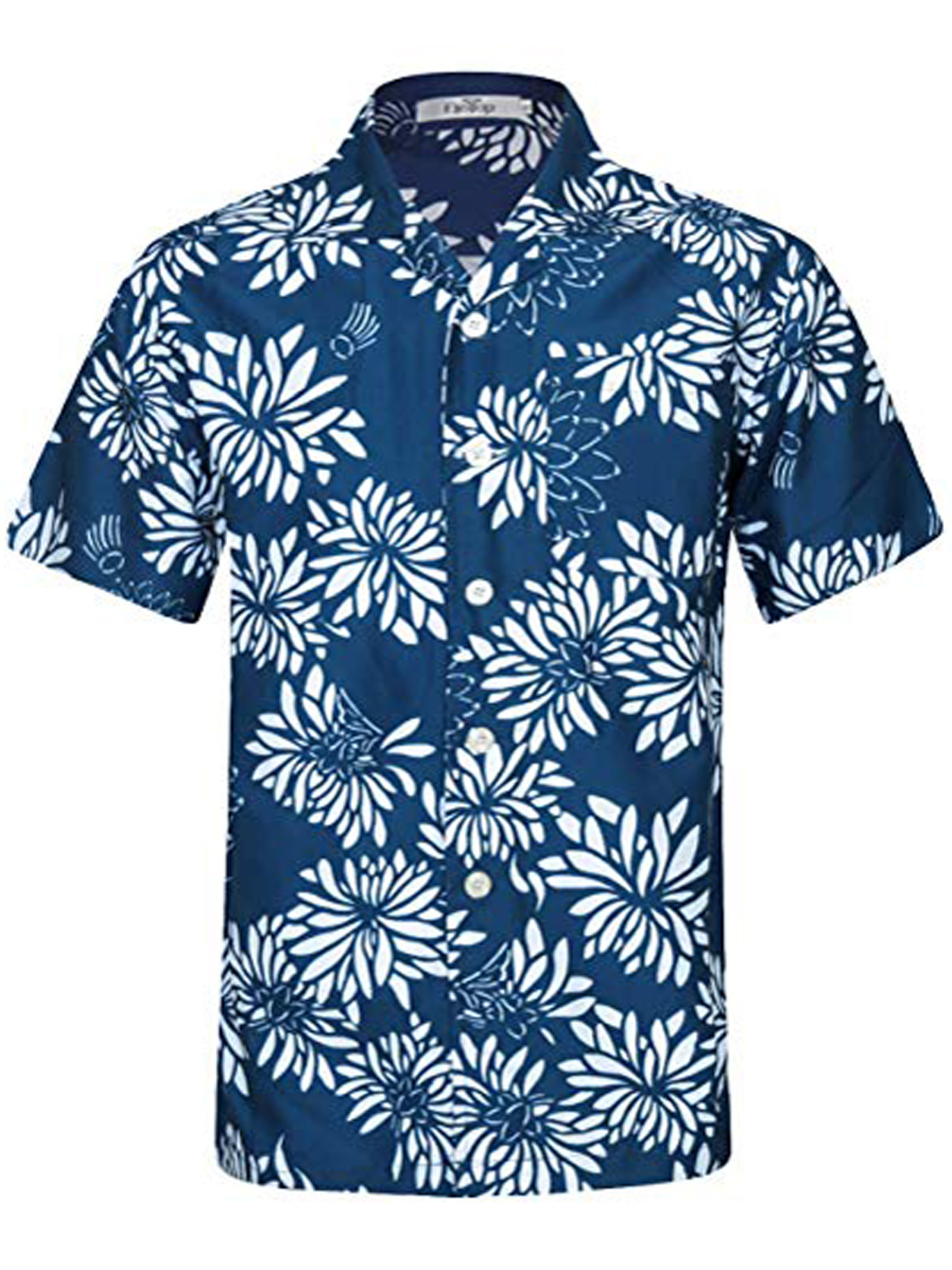 Mens Floral Printed Short Sleeved Leisure and Fashion Button Down Shirt