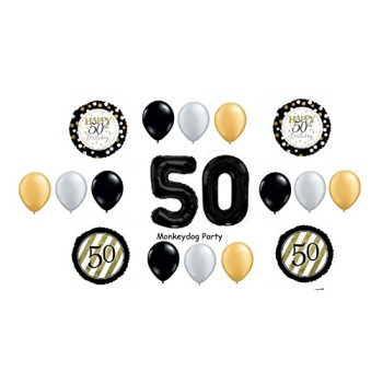 18 pc balloon set 50th birthday black gold classy party decorations balloons vhtf