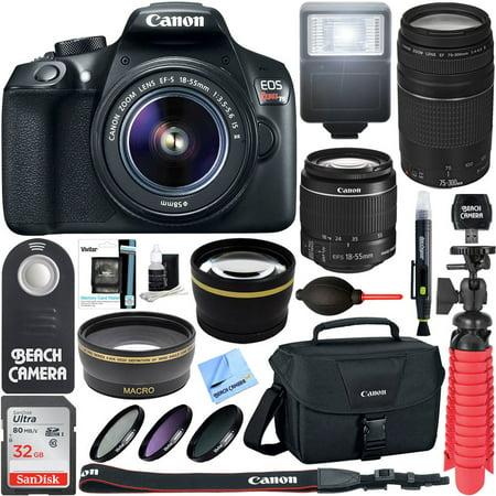 Canon T6 EOS Rebel DSLR Camera w/ EF-S 18-55mm IS II & 75-300mm III Lens Kit + Accessory Bundle 64GB SDXC Memory + SLR Photo Bag + Wide Angle Lens + 2x Telephoto Lens + Flash + Remote + Tripod & More