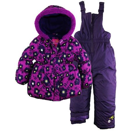 d80e0d30c Pink Platinum Little Girls Snowboard Bubble Jacket and Snowpants ...
