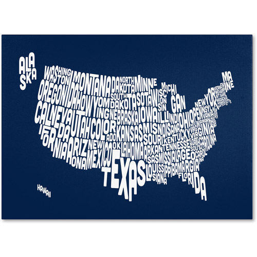 Trademark Art 'NAVY-USA States Text Map' Canvas Art by Michael Tompsett