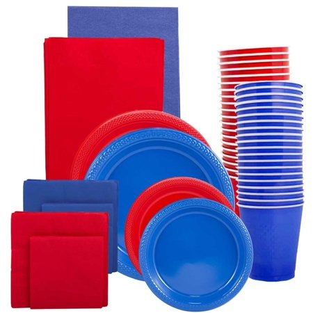 Graduation Plates And Napkins (JAM Paper Party Supply Assortment, Red & Blue Grad Pack, Plates (2 Sizes), Napkins (2 Sizes), Cups & Tablecloths,)