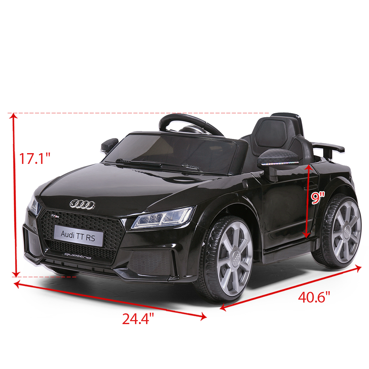 JAXPETY Audi TT 12V Electric Kids Ride On Car Licensed MP3 LED Lights RC Remote Control Blue