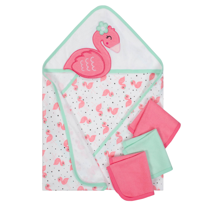 3439b1180c4f Gerber Baby Girl Terry Hooded Towel and Washcloth Set, 10pc - Walmart.com