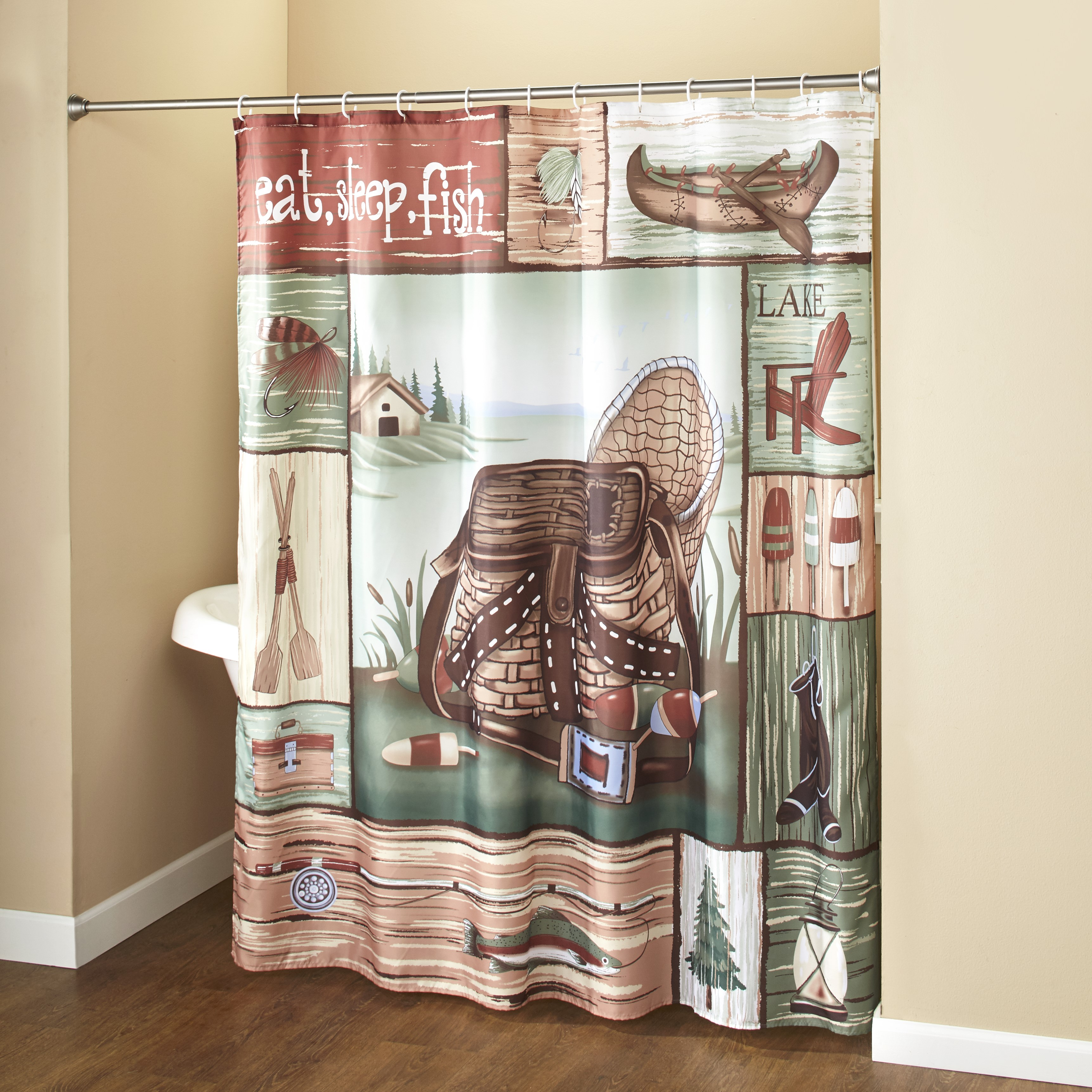Gone Fishing Shower Curtain With Hooks
