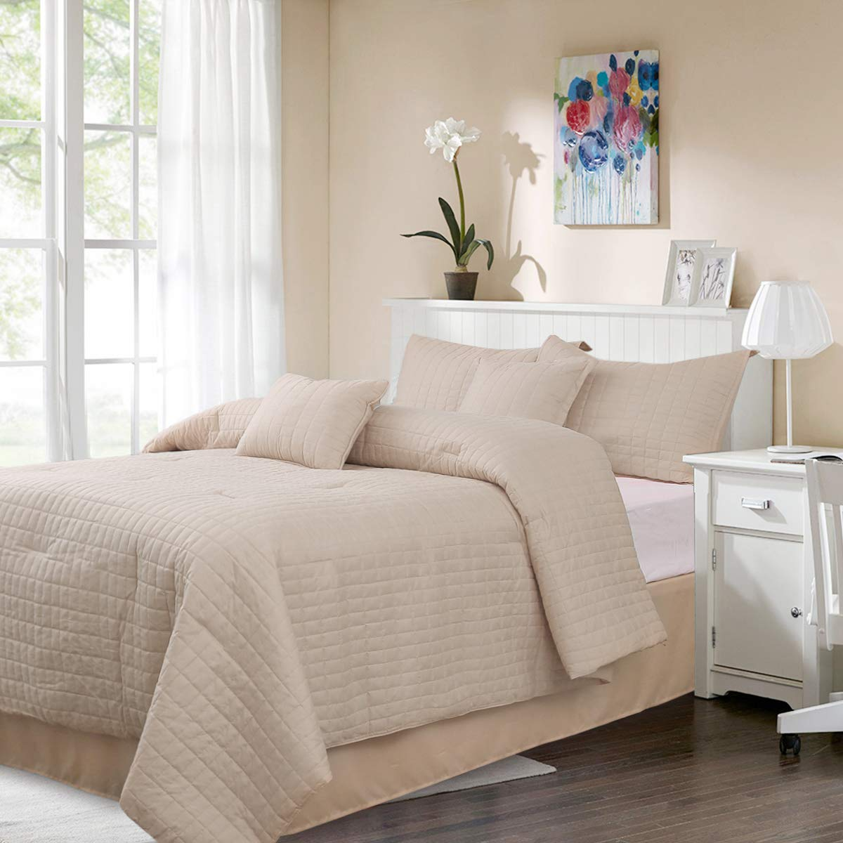 HONEYMOON HOME FASHIONS King Comforter Set 6 Piece, 1 x Comforter, 1 x Bedskirt, 2 x Shams and 2 x Decorative Pillows, Gray