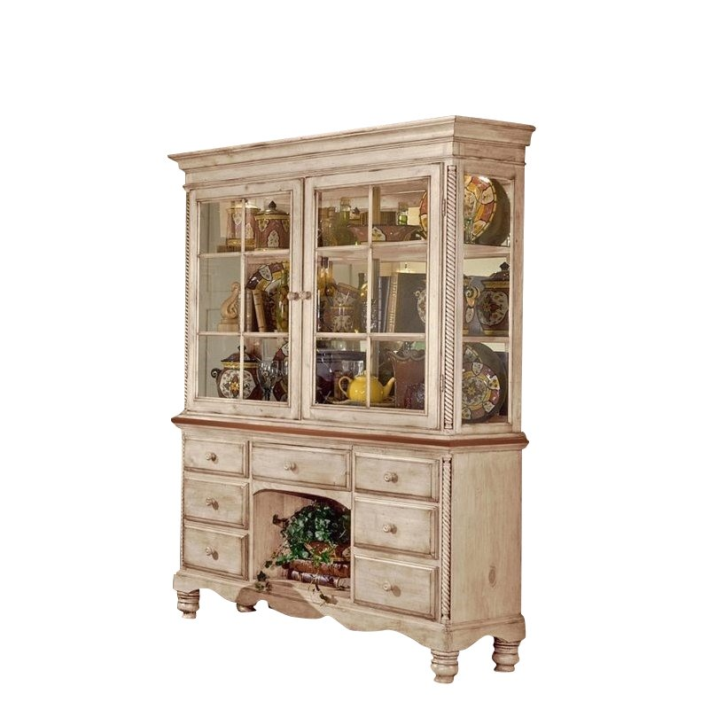 Kingfisher Lane Buffet and Hutch in Antique White Finish