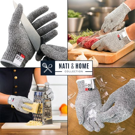 Cut Resistant Gloves Food Grade Level 5 Protection, Safety Kitchen Cuts Gloves for Oyster Shucking, Fish Fillet Processing, Mandolin Slicing, Meat Cutting and Wood Carving, 1 Pair (Large)