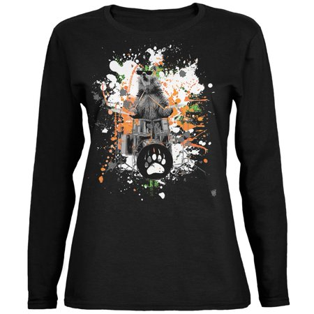 Bear Drummer Splatter Black Womens Long Sleeve T-Shirt (Drummer Bear)