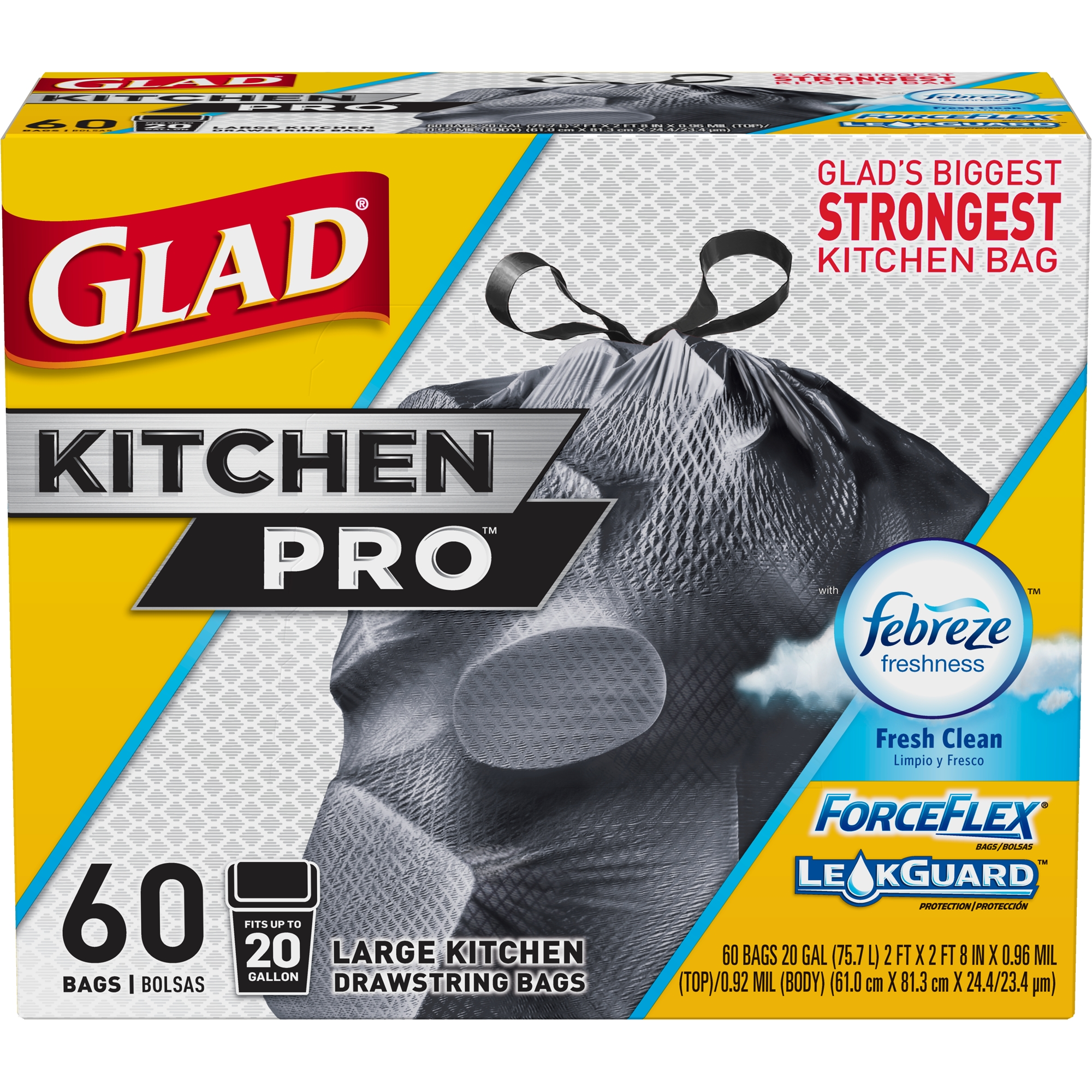 Glad Forceflex Kitchen Pro Drawstring Trash Bags - Febreze Fresh Clean - 20 gal - 60 ct