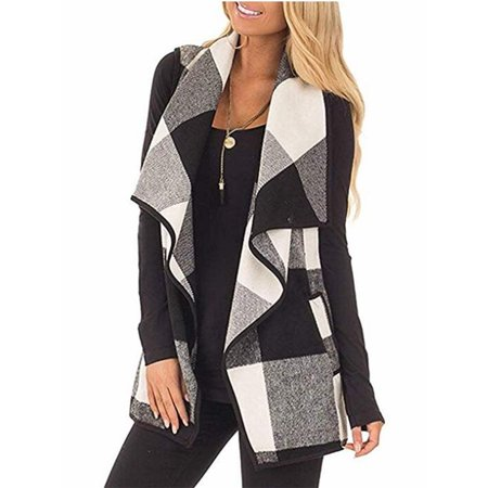 Sleeveless Plaid Vest Coat with Pocket for Women Wear (Red Womens Pea Coat)