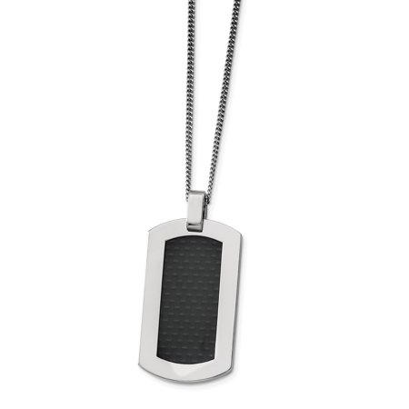 Titanium Polished with Black Carbon Fiber Inlay Necklace 24in - image 2 of 3