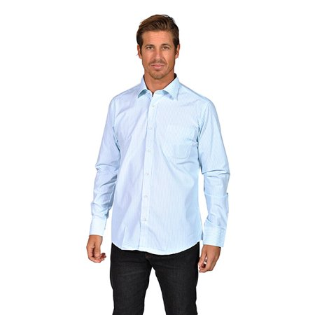 Mens long sleeve striped button down shirts aqua for Striped button down shirts for men