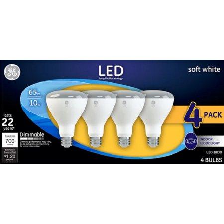 General Electric 4pk 65W BR30 LED Light Bulb White