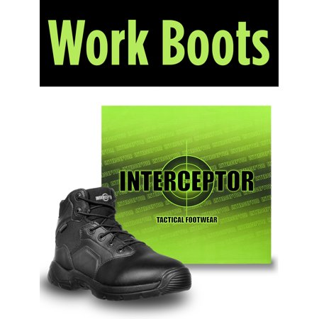 Interceptor Mens Canton Waterproof Work Boots, Slip Resistant, Black