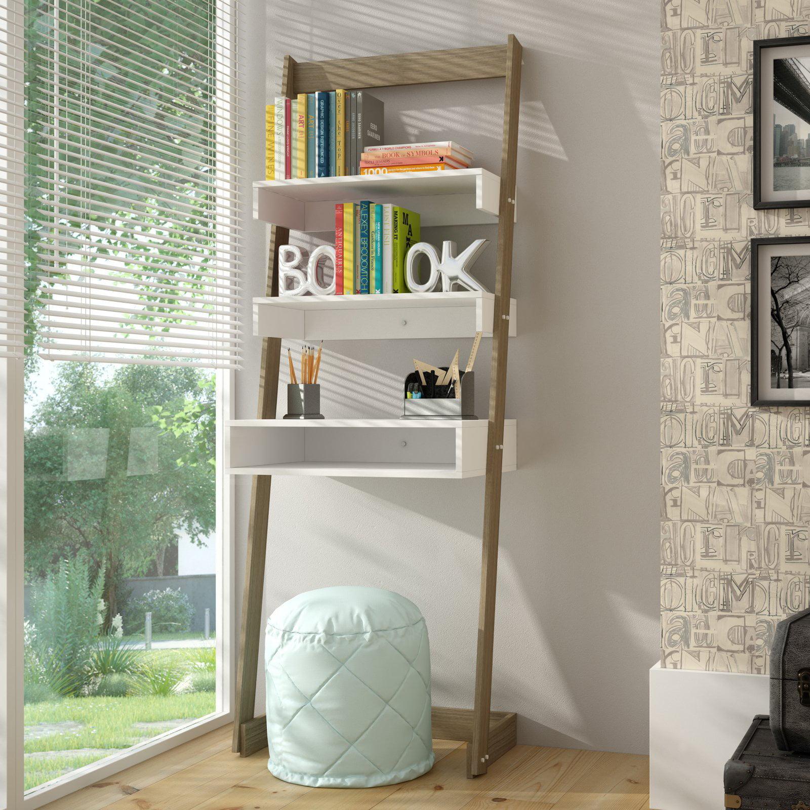 Carpina Ladder Desk With 2 Shelves In White Walmart Com