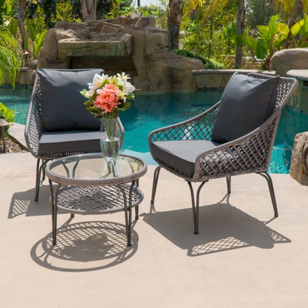 Belleze 3 Pc Wicker Set Outdoor Two Chairs Shelf Round Gl Table Plush Cushioned All Weather Brown Grey