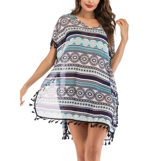 f210744539508 Lelinta - Women Chiffon Tassel Bohemian Swim Cover Ups Bikini Tunic ...