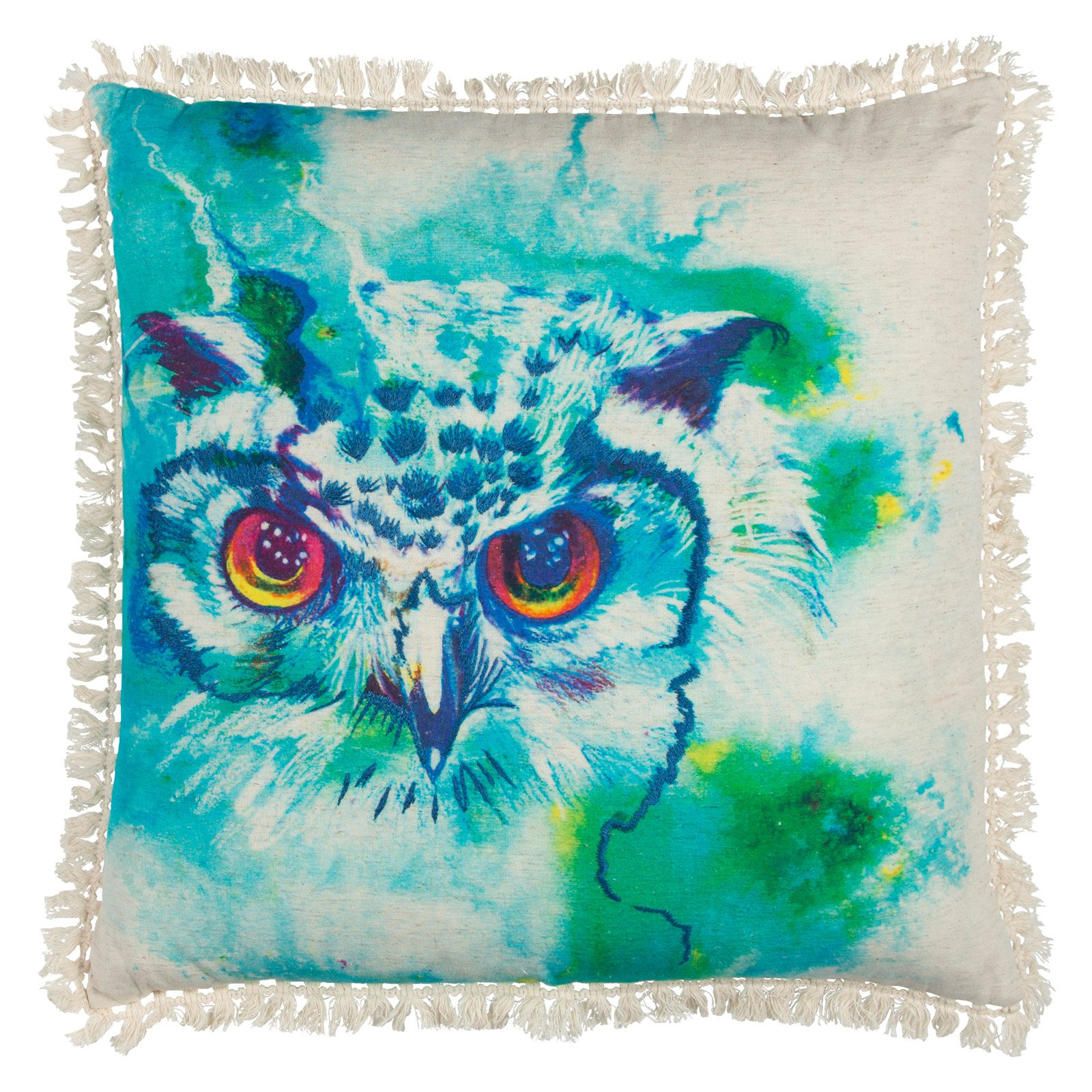 "Mariah Parris By Rizzy Home Decorative Poly Filled Throw Pillow Owl 20""X20"" Aqua"