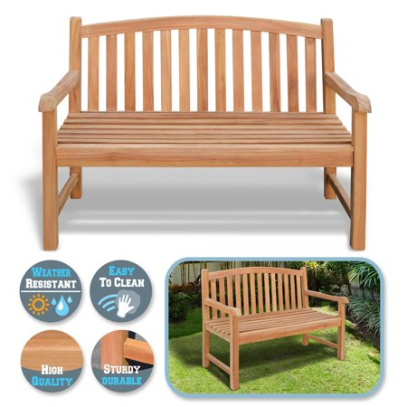 Sunrise 1 Piese 4Ft Teak Wood Patio Bench Terrace Garden Seating Furniture Chair, Outdoor Patio Furniture, Gold color