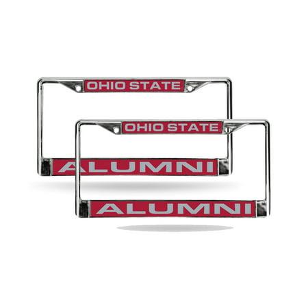 Ohio State Buckeyes Alumni Chrome Metal (2) Laser Cut License Plate Frame Set Alumni Chrome Frame
