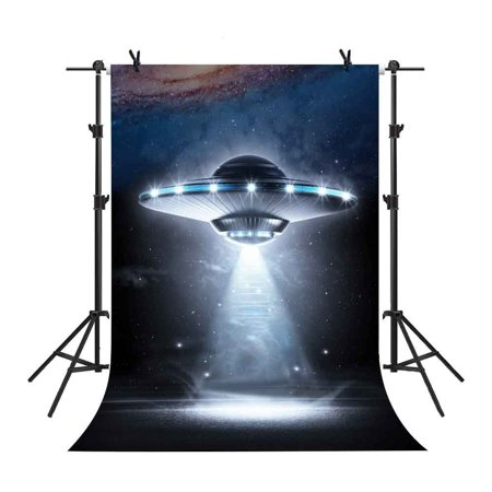 Star Wars Photo Backdrop (GreenDecor Polyster 5x7Ft UFO with Light Beam Backdrop Aliens Star Wars Fantastic Background Props Video Studio)