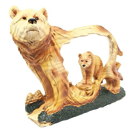 Nature Rustic Faux Wood Wildlife Grizzly Bear With Cub Roaming The Forests Decor Figurine Collectible