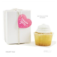 Sparkle Princess Birthday Thank You Heart Gift Tags, 30-Pack
