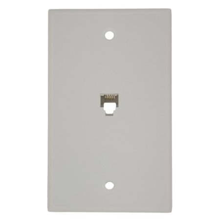 40238-W Standard Telephone Wall Jack, 6P6C, Screw Terminals, White, High quality ABS plastic or nylon which provides superior resistance to impacts,.., By Leviton