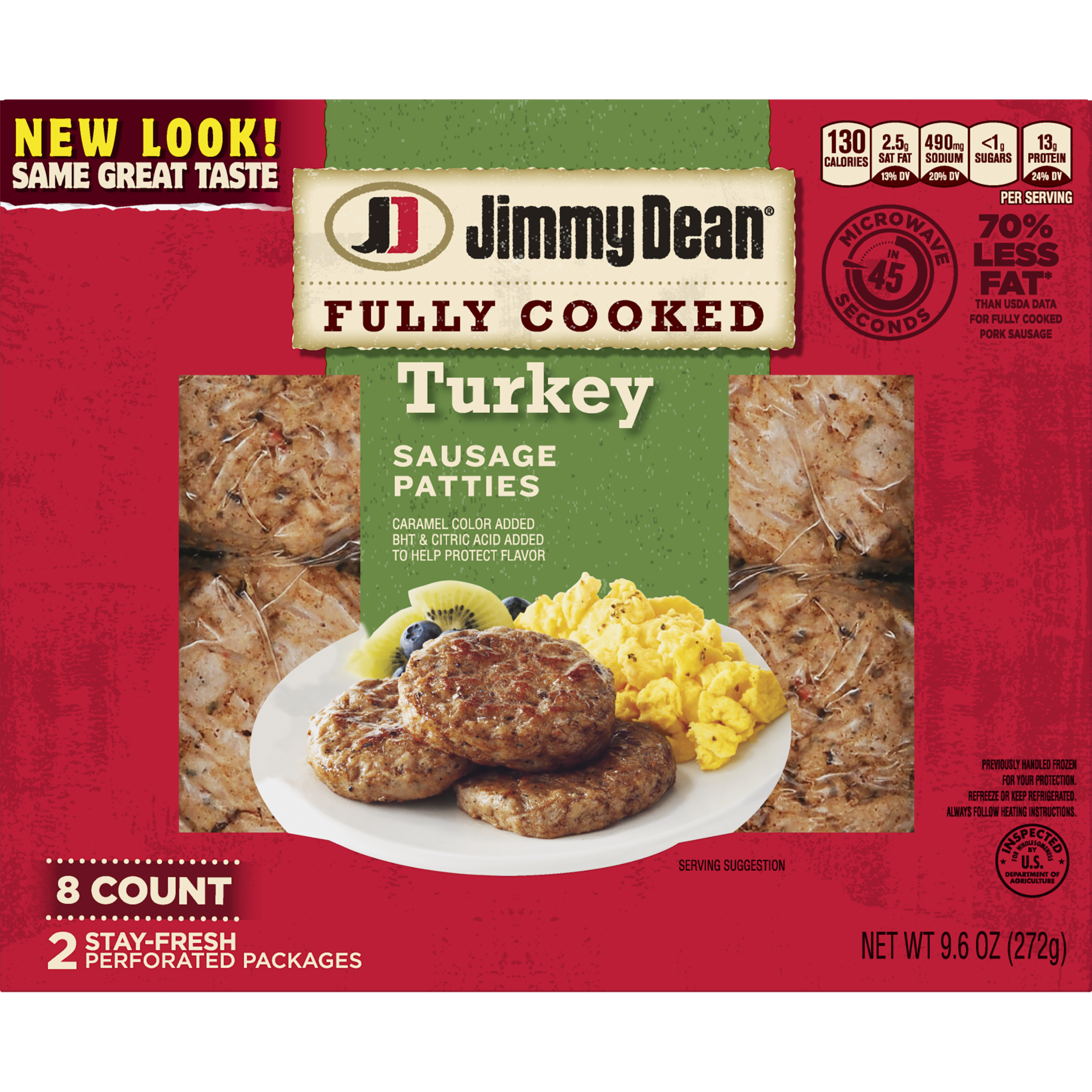 Jimmy Dean® Fully Cooked Turkey Sausage Patties, 8 Count