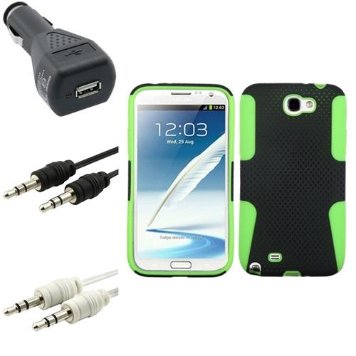 Insten Green/Black Hybrid Case Charger 2x Audio Cable For Samsung Galaxy Note 2 II