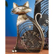 DecoFLAIR Table Fan Two-Speed Electric Circulating Fan, Small Cat Figurine Fan