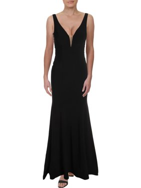 Xscape Womens V-Neck Embellished Evening Dress