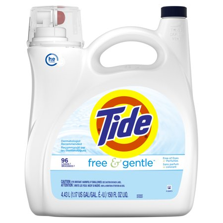 Tide Free & Gentle HE, Liquid Laundry Detergent, 150 Fl Oz 96